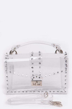 STUDDED CLEAR BAG Silver