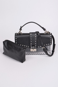 STUDDED CLEAR BAG Blk