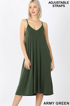 V NECK CAMI DRESS ARMY GREEN