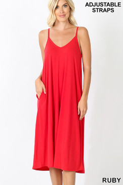 V NECK CAMI DRESS RUBY