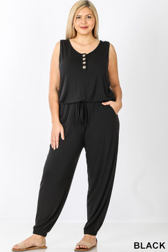 BOTTON JUMPSUIT Black Plus Size