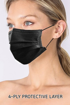 4 PLY DISPOSABLE MASK BLACK