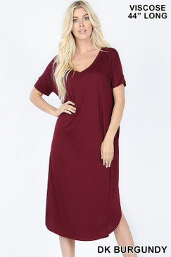 V NECK DRESS Burgundy