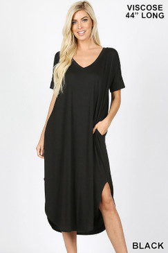 V NECK DRESS Black