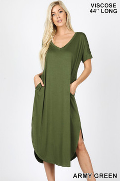 V NECK DRESS ARMY GREEN
