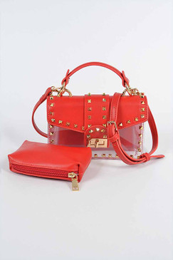 STUDDED CLEAR BAG Red