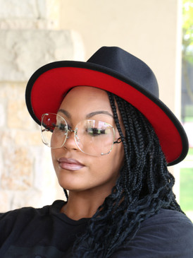BLACK RED FEDORA HAT