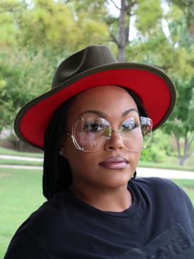 OLIVE RED FEDORA HAT