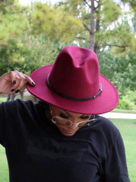 WINE RED FEDORA HAT