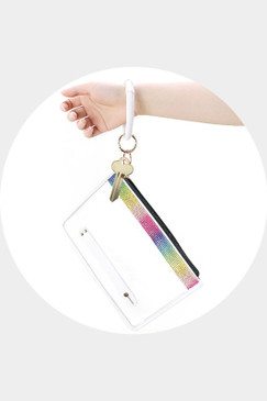 LALA RAINBOW CLEAR CLUTCH BAG