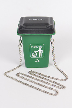 RECYCLE TRASH CAN CLUTCH Green