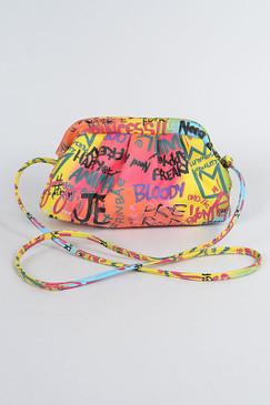 RAINBOW GRAFFITI CLUTCH BAG