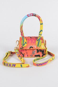 GRAFFITI RAINBOW SINGLE HANDLE MINI BAG