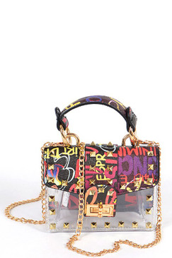 STUDDED GRAFFITI CLEAR MINI BAG
