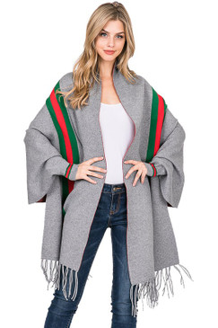 STRIPE SHAWL PONCHO Grey
