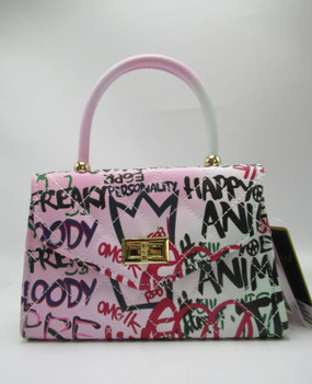 Top Handle Graffiti Purse Pink
