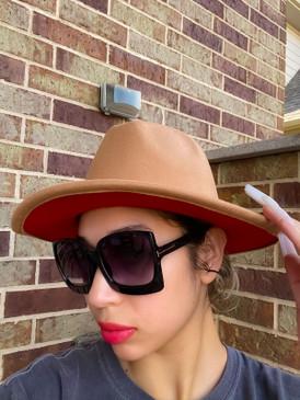 Lt Tan  Red Fedora Hat