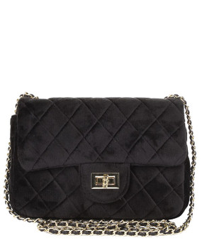 Quilted Velvet Crossbody Black