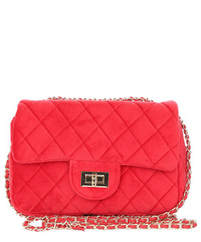 Quilted Velvet Crossbody Red