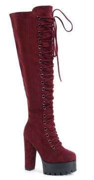 Lace Lug Boots Wine