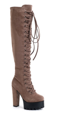 Lace Lug Boots Taupe