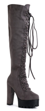Lace Lug Boots Grey
