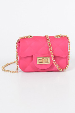 Matte Mini Jelly Cross Body Fuchsia