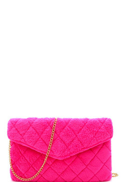 Quilted Envelope Purse Neon Pink