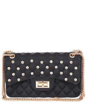 Rhinestone Quilted Jelly Crossbody Black