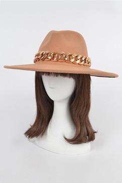 Chain Fedora Hat Camel