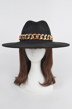 Chain Fedora Hat Black