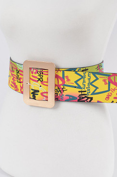 Plus Size Graffiti Rainbow Belt
