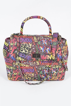 Graffiti Top Handle Bag Black Multi