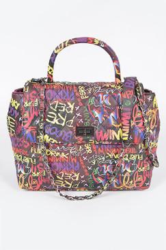 Graffiti Top Handle Bag Black Multi