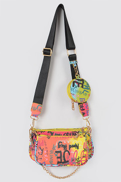 Triple Glam Graffiti Cross Body Multi
