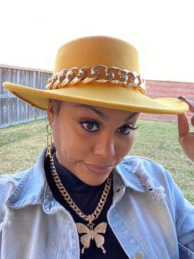 Chain Fedora Hat Mustard
