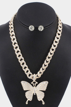 Rhinestone Embellished Butterfly Necklace Gold