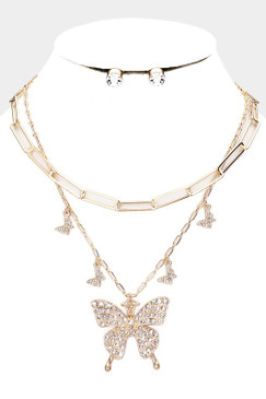 2 PCS Butterfly Necklace Gold