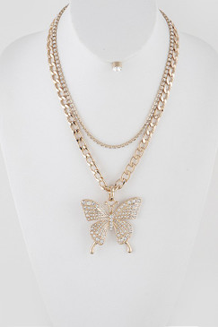 Butterfly Pendant Necklace Gold