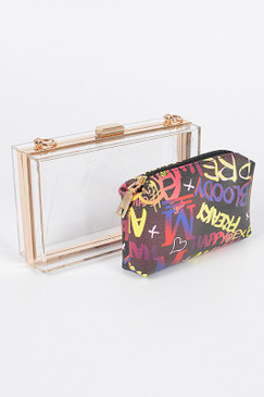 Clear Graffiti Case Purse Black Multi
