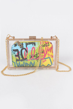 Clear Graffiti Case Purse Multi