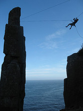 Making the Tyrolean Traverse back to mainland Tasmania