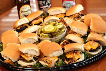Bet you can't eat just one! Everyone loves mini burgers with grilled onion, pickle and melted American cheese, served on a seared slider bun. Sliders are the perfect party choice…easy to eat standing up or sitting down!