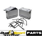 Tusk Aluminum Panniers  w/Pannier Racks Silver Large,Suzuki DR650 96-2015