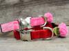 Rosebud Red Velvet and Pink Velvet dog Collar - by Diva-Dog.com