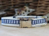 Lifes a Picnic dog collars in blue gingham - by www.diva-dog.com