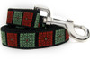 Savannah Squares Linden and Rust dog leash - by Diva-Dog.com