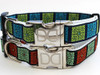 Savannah Squares Linden and Rust and Kiwi and Blue dog Collars - by Diva-Dog.com