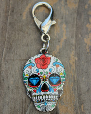 Sugar Skulls dog collar charm - by Diva-Dog.com