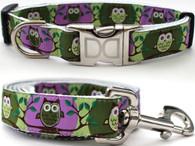 H'Owl Dog Collar and Leash Set - by Diva-Dog.com in Avocado & Grape